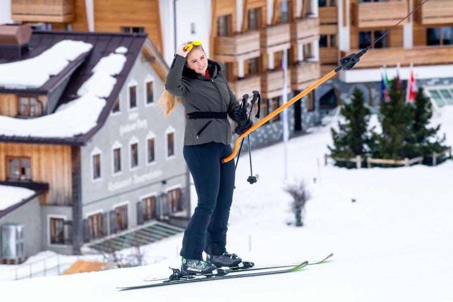 La princesse Catharina-Amalia des Pays-Bas à Lech en Autriche, le 25 février 2019