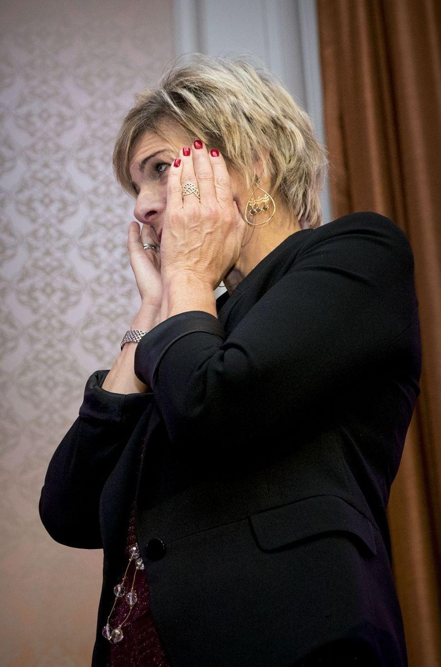 L'émotion de la princesse Laurentien des Pays-Bas à La Haye, le 3 octobre 2017