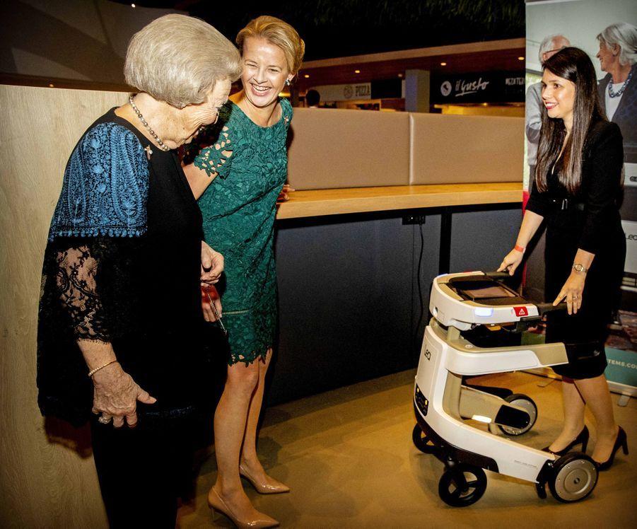 L'ex-reine Beatrix des Pays-Bas et sa belle-fille la princesse Mabel à Veldhoven, le 18 mars 2019
