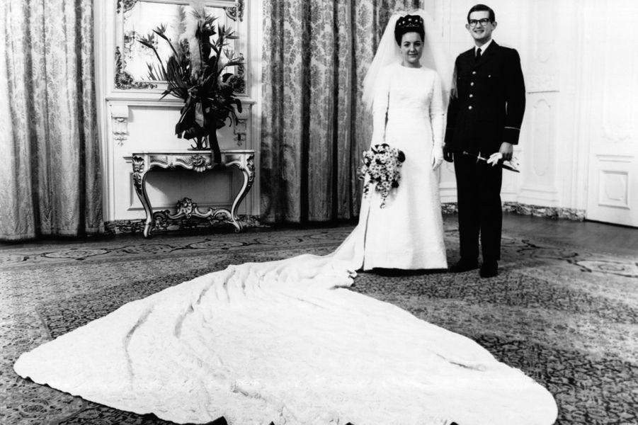 La princesse Margriet des Pays-Bas le jour de son mariage avec Pieter van Vollenhoven, le 10 janvier 1967