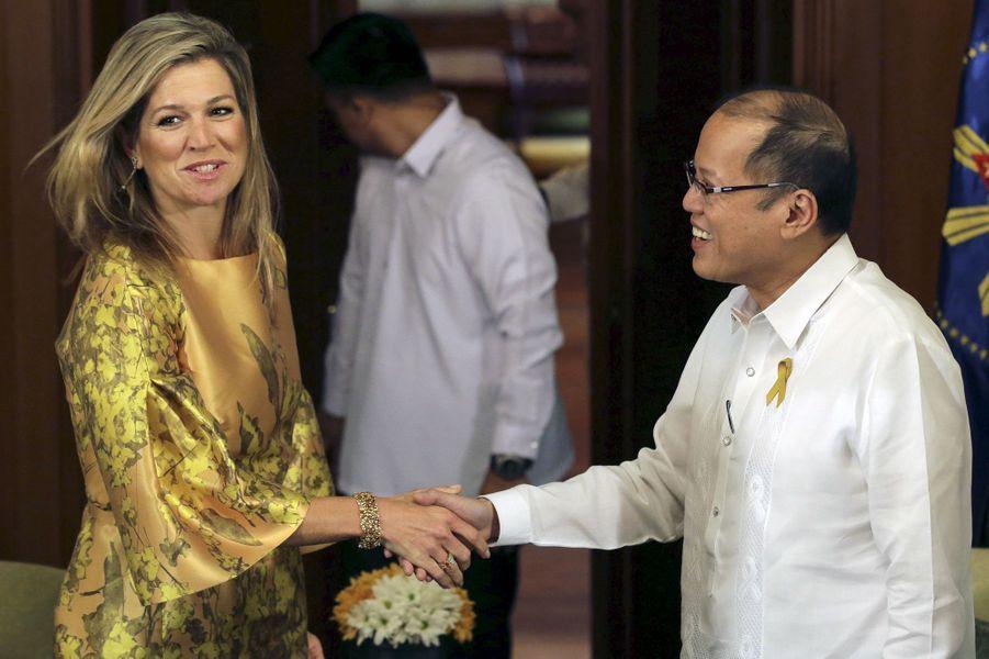 La reine Maxima des Pays-Bas avec le président philippin Benigno Aquino à Manille, le 30 juin 2015