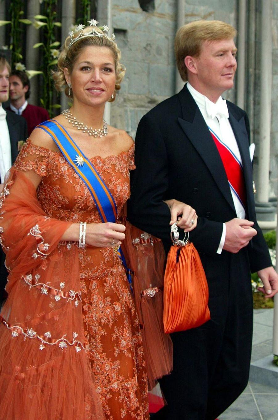 La princesse Maxima des Pays-Bas avec le prince Willem-Alexander, le 24 mai 2002