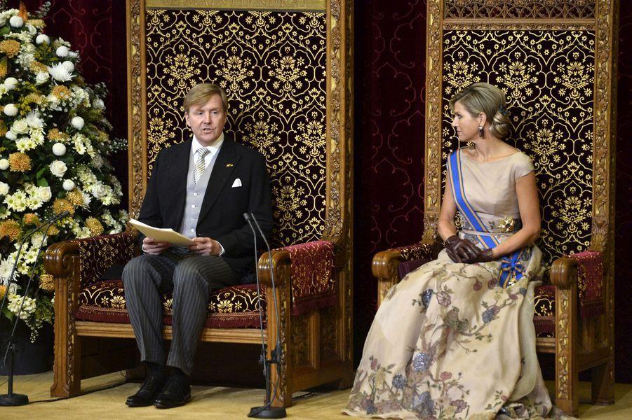 La reine Maxima des Pays-Bas avec le roi Willem-Alexander, le 15 septembre 2015