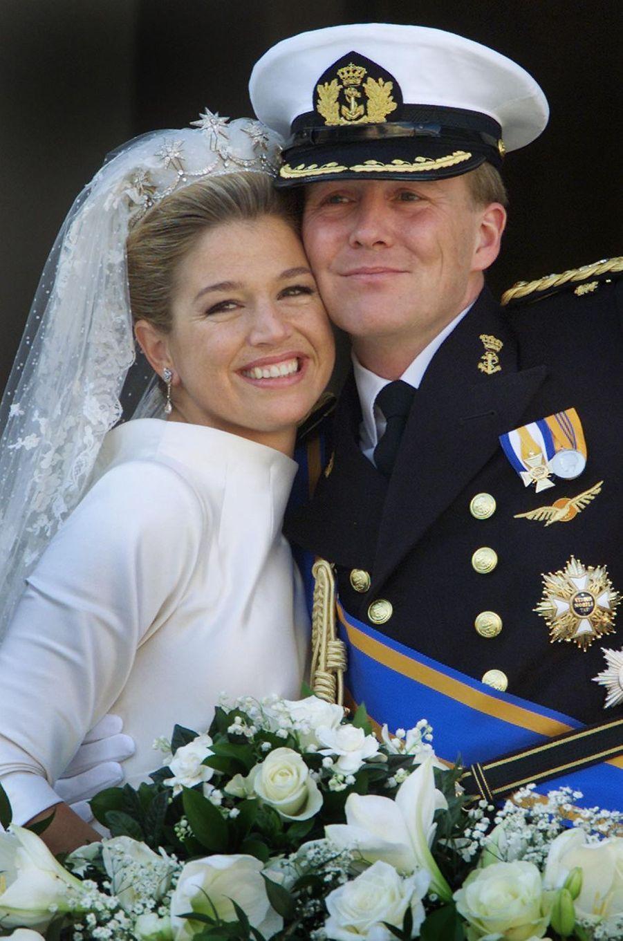 Maxima Zorreguieta et le prince Willem-Alexander des Pays-Bas le jour de leur mariage, le 2 février 2002