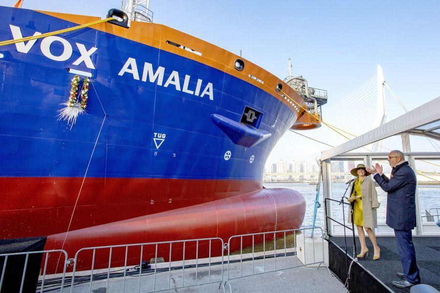 """La reine Maxima des Pays-Bas inaugure le """"Vox Amalia"""" à Rotterdam, le 14 décembre 2018"""