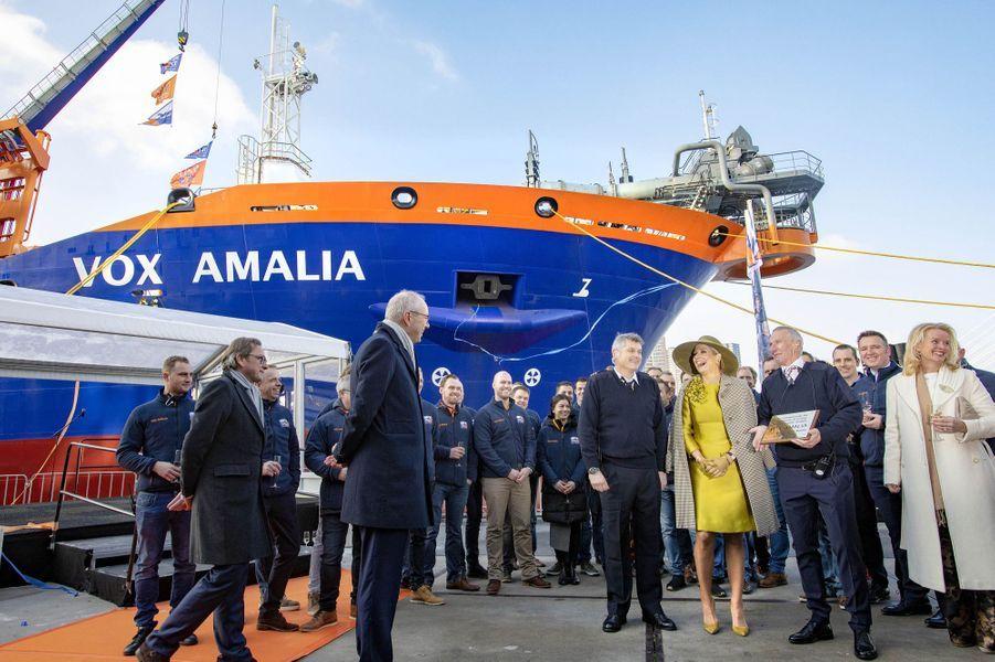 """La reine Maxima des Pays-Bas devant le """"Vox Amalia"""" à Rotterdam, le 14 décembre 2018"""