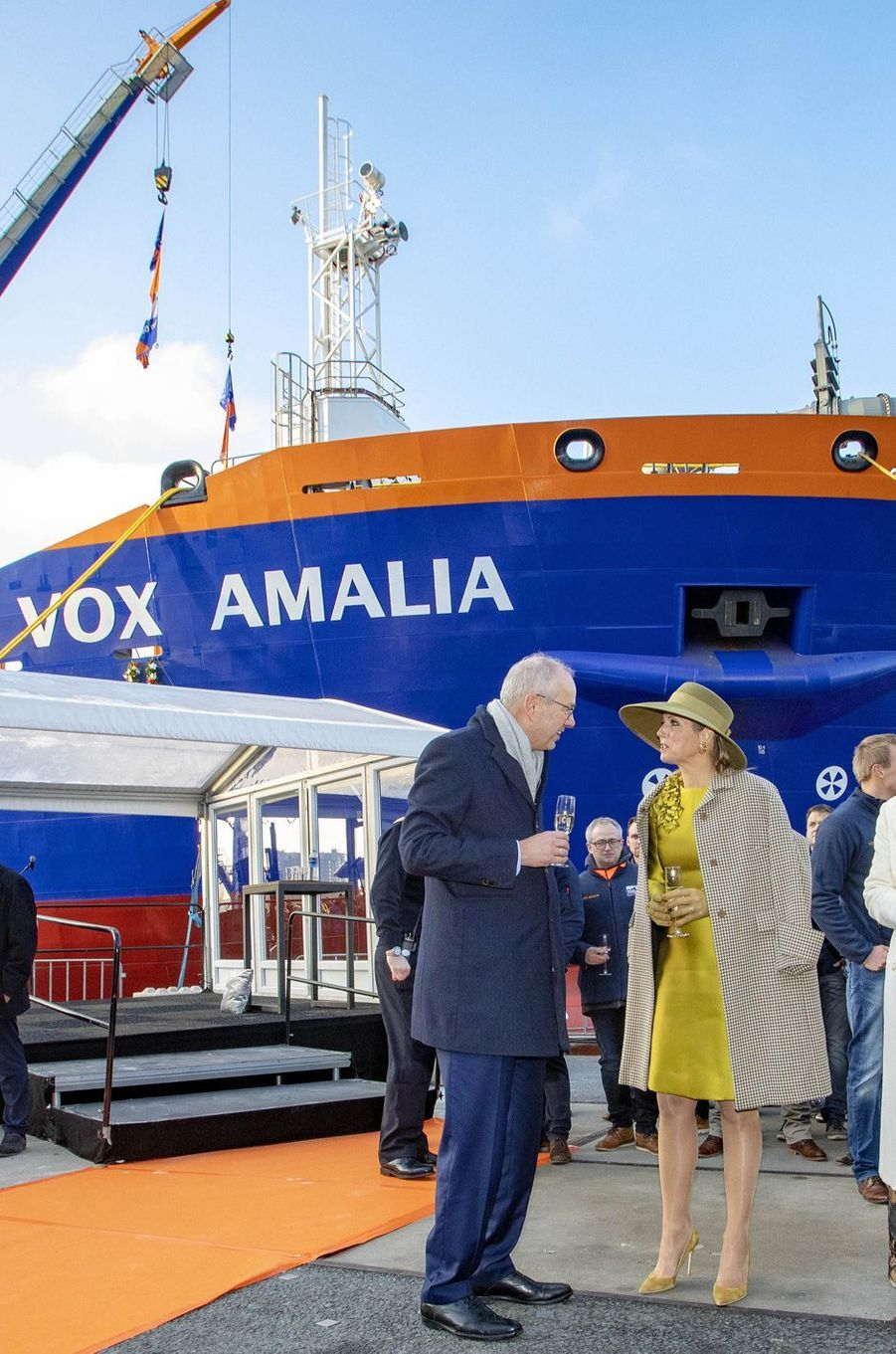 La reine Maxima des Pays-Bas au Terminal de croisières de Rotterdam, le 14 décembre 2018