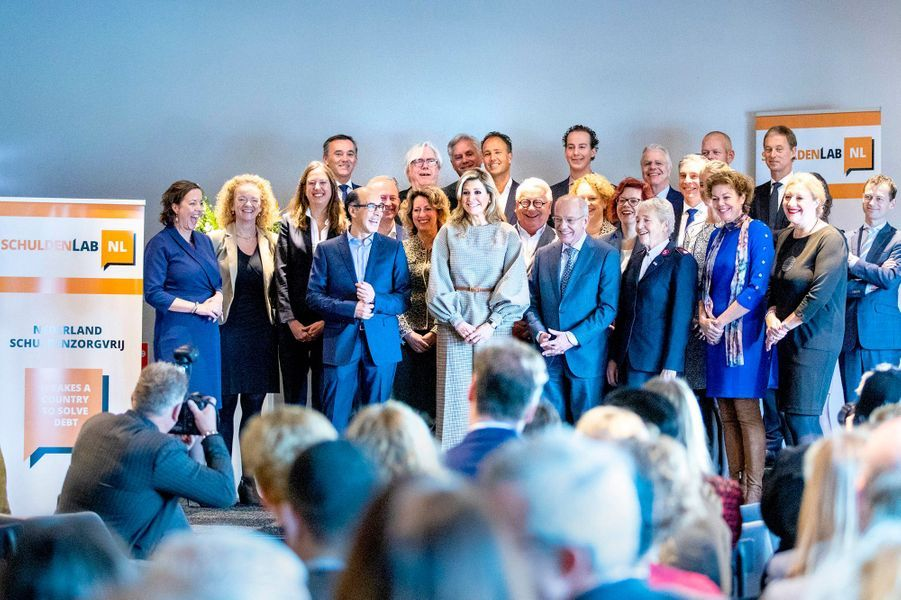La reine Maxima des Pays-Bas à une manifestation en lien avec l'endettement à La Haye, le 14 novembre 2018