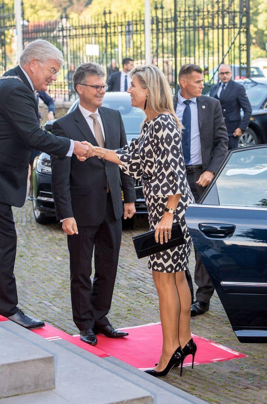 La reine Maxima des Pays-Bas à son arrivée à Utrecht, le 9 septembre 2019