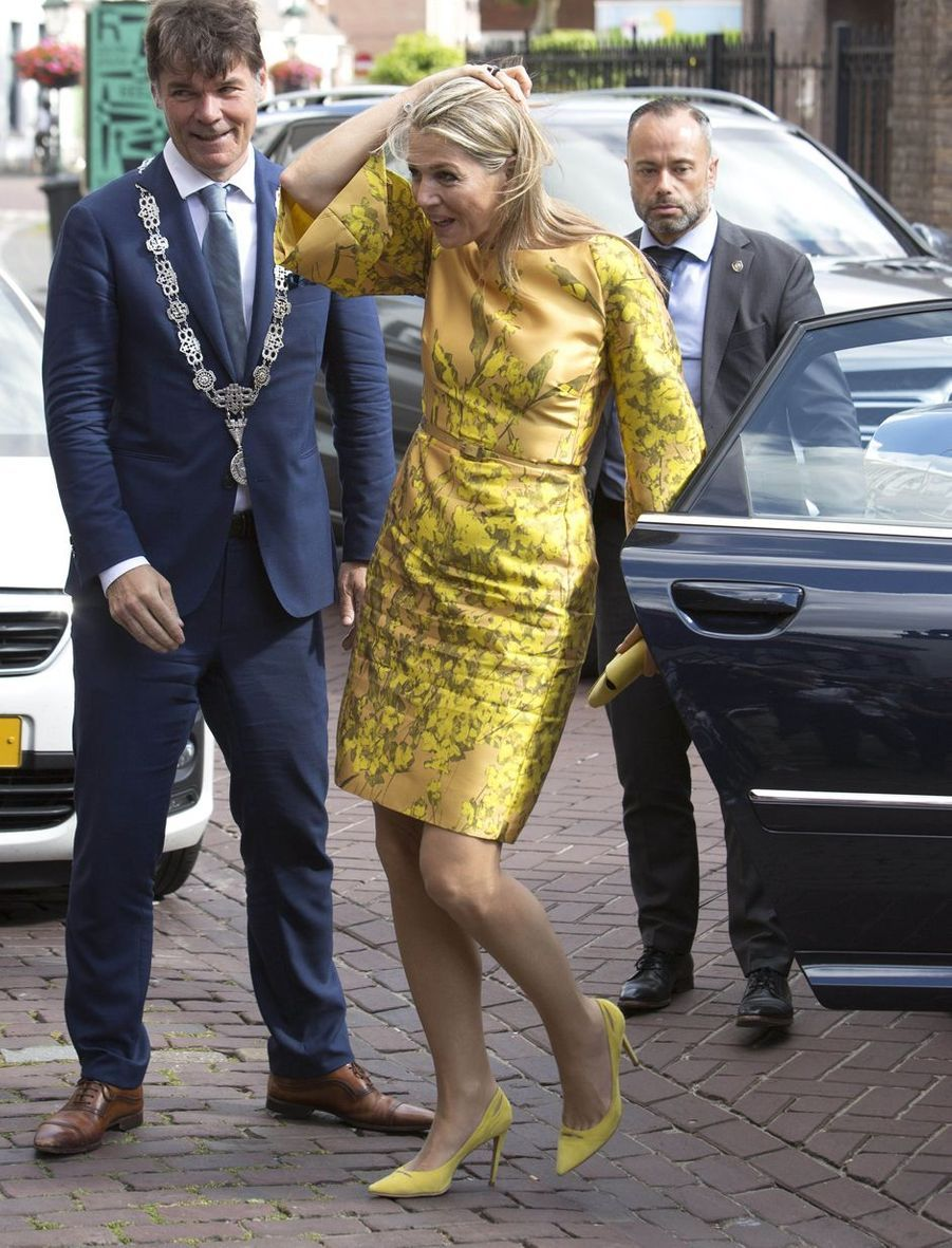 La reine Maxima des Pays-Bas, dans une robe Natan, à Breda le 3 juillet 2019