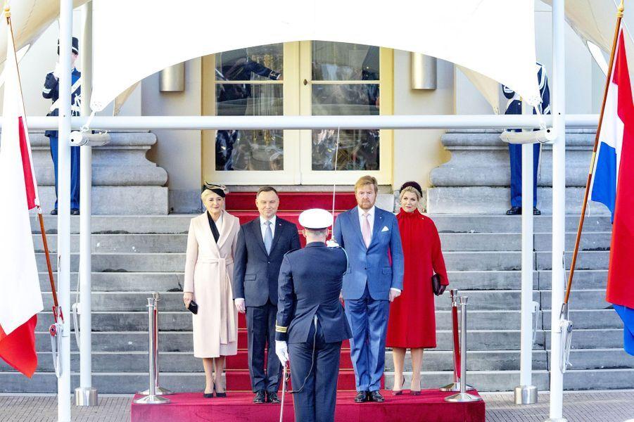 La reine Maxima et le roi Willem-Alexander des Pays-Bas avec le président polonais Andrzej Duda et sa femme Agatha à La Haye, le 29 octobre 2019