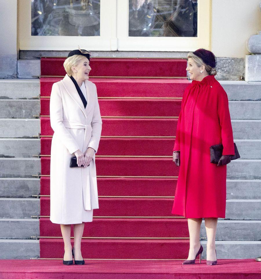 La reine Maxima des Pays-Bas avec la Première dame polonaise à La Haye, le 29 octobre 2019