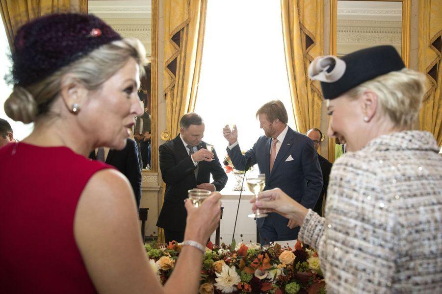 La reine Maxima et le roi Willem-Alexander des Pays-Bas avec le couple présidentiel polonais à La Haye, le 29 octobre 2019