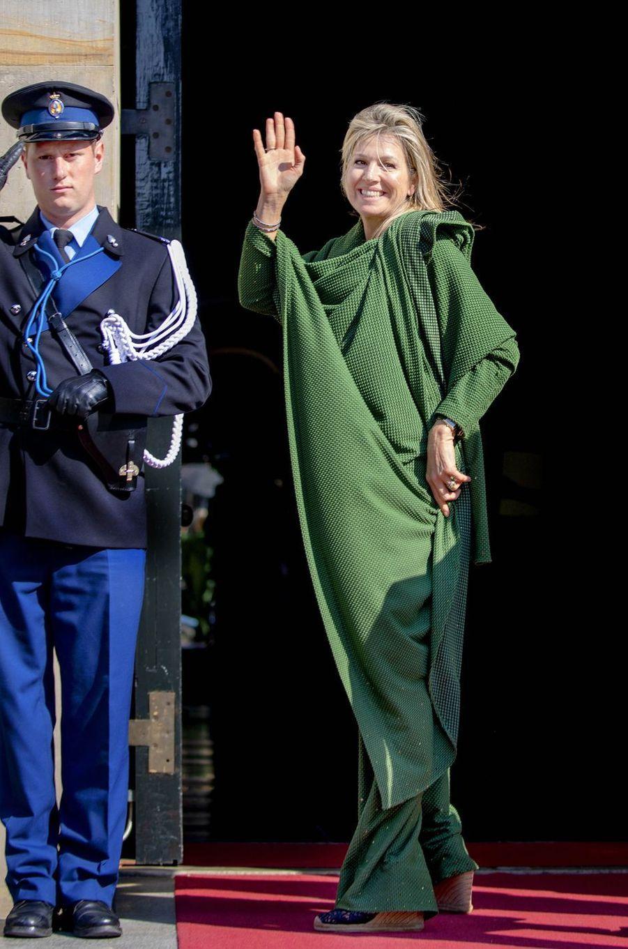 La reine Maxima des Pays-Bas arrive au Palais royal à Amsterdam, le 9 avril 2019
