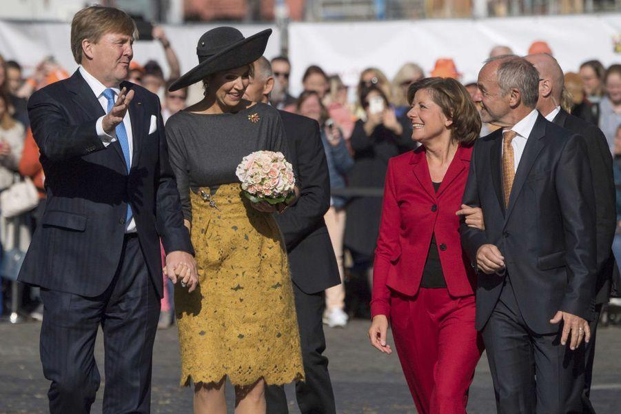 La reine Maxima et le roi Willem-Alexander des Pays-Bas avec Malu Dreyer et son mari à Mayence, le 10 octobre 2018