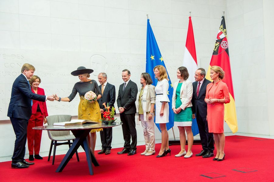 La reine Maxima et le roi Willem-Alexander des Pays-Bas à Mayence, le 10 octobre 2018