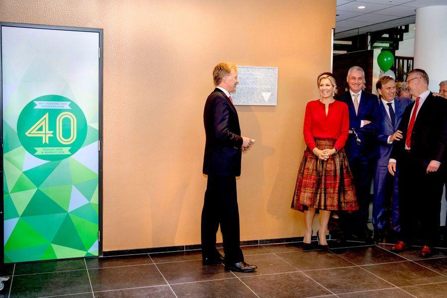 La reine Maxima des Pays-Bas, dans un ensemble Natan, à La Haye, le 17 octobre 2018