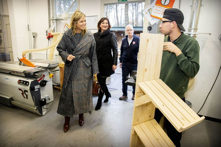 La reine Maxima des Pays-Bas, en Oscar de la Renta, à Ugchelen le 8 janvier 2020