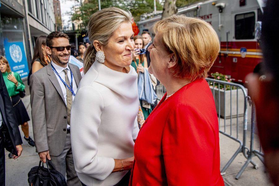 La reine Maxima des Pays-Bas avec Angela Merkel à New York, le 24 septembre 2019