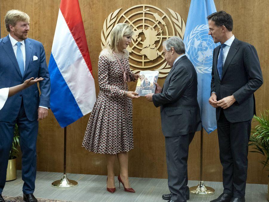 La reine Maxima des Pays-Bas avec le roi Willem-Alexander, Antonio Guterres et Mark Rutte à New York, le 24 septembre 2019