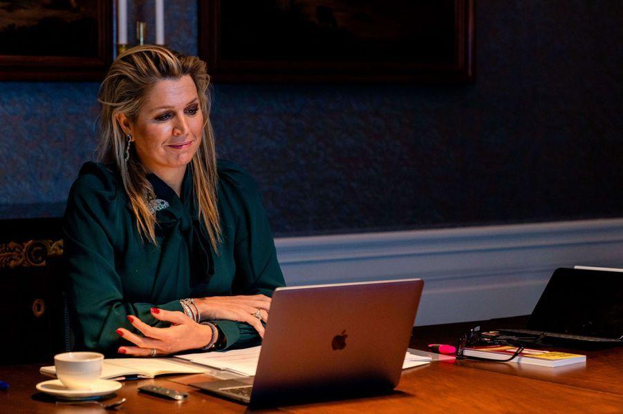 La reine Maxima des Pays-Bas au palais Huis ten Bosch à La Haye, le 30 novembre 2020