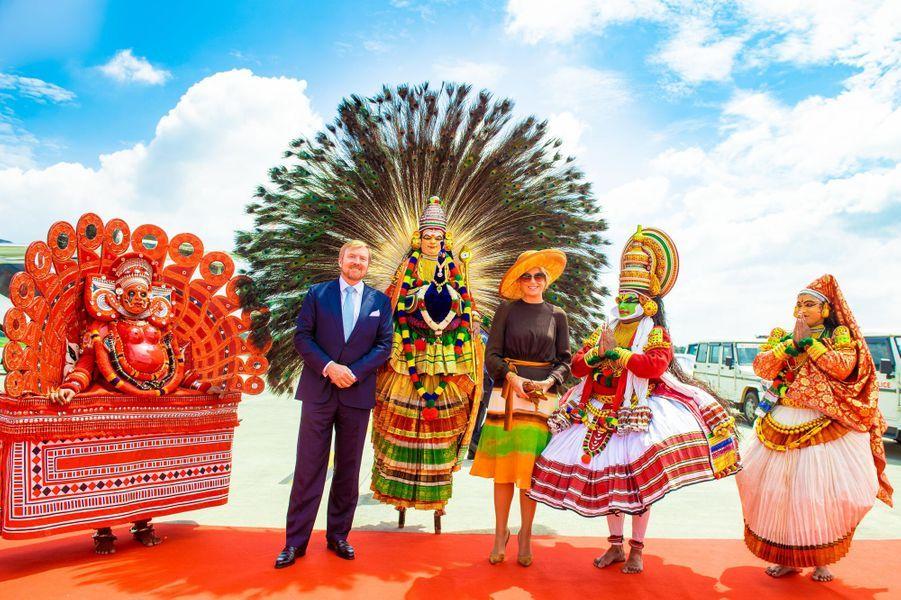 La reine Maxima et le roi Willem-Alexander des Pays-Bas à Kochi (Cochin) en Inde, le 17 octobre 2019