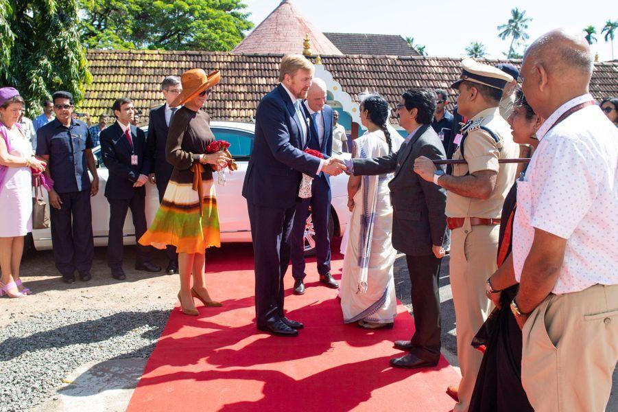 La reine Maxima et le roi Willem-Alexander des Pays-Bas à Kochi (Cochin), le 17 octobre 2019