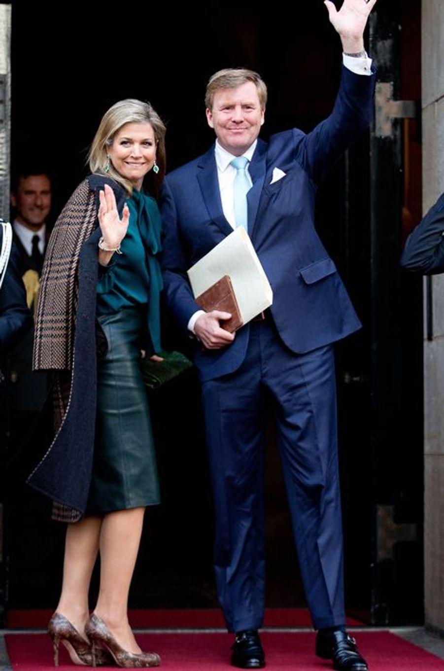 La reine Maxima et le roi Willem-Alexander des Pays-Bas à Amsterdam, le 12 janvier 2016