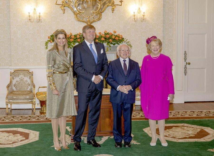 La reine Maxima et le roi Willem-Alexander des Pays-Bas avec Michael D. Higgins et sa femme Sabina à Dublin, le 12 juin 2019