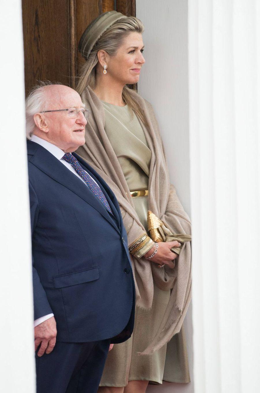 La reine Maxima des Pays-Bas avec le président de la République d'Irlande Michael D. Higgins à Dublin, le 12 juin 2019