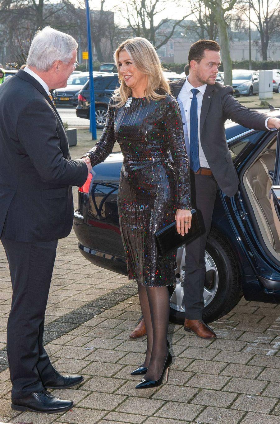 La reine Maxima des Pays-Bas à son arrivée à Zwolle, le 18 décembre 2019