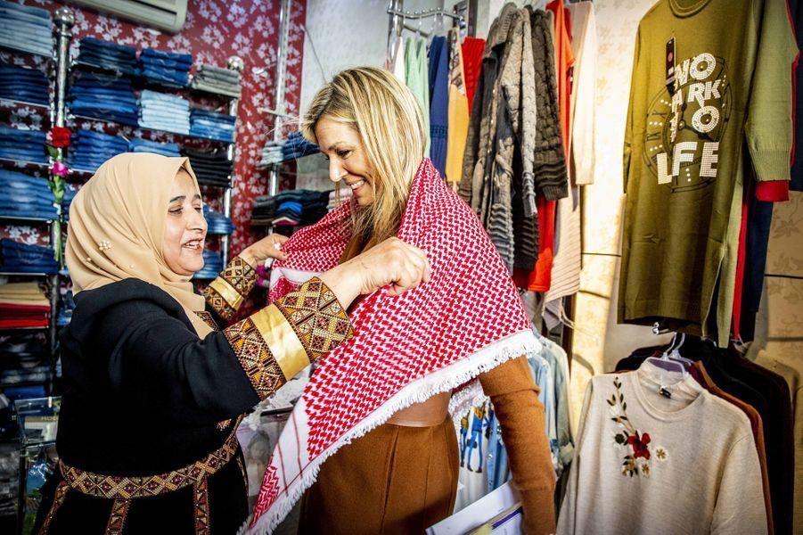 La reine Maxima des Pays-Bas àZarqa en Jordanie, le 11 février 2019