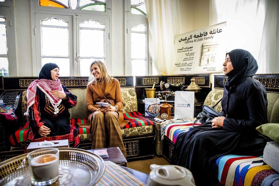 La reine Maxima des Pays-Bas à Al-Salt en Jordanie, le 11 février 2019