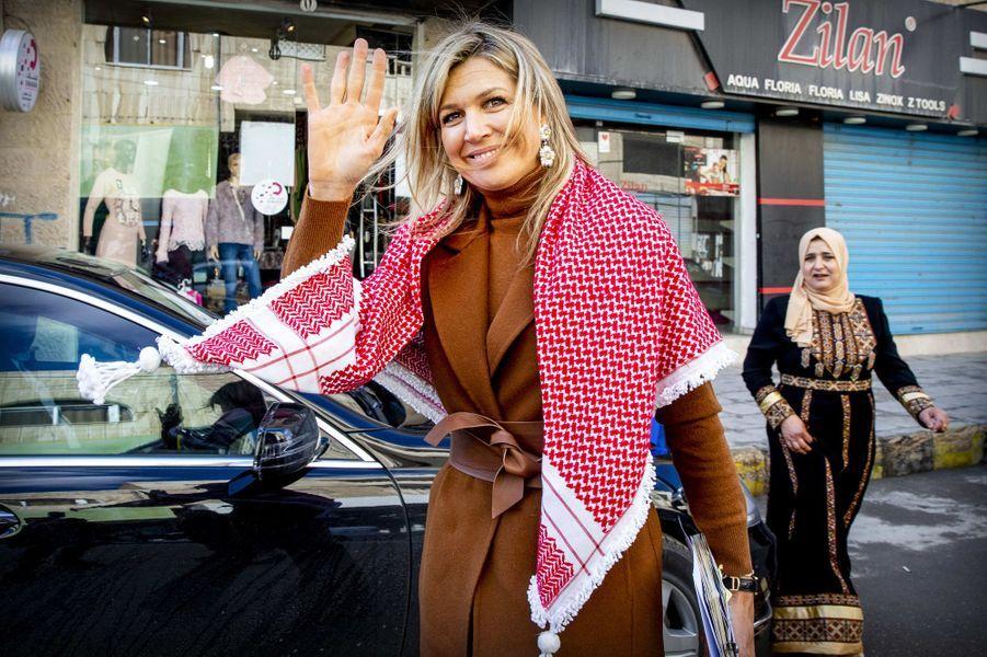 La reine Maxima des Pays-Bas en Jordanie, le 11 février 2019