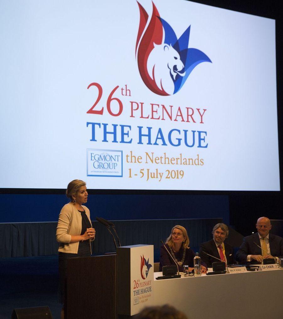 La reine Maxima des Pays-Bas ouvre une conférence à La Haye, le 4 juillet 2019