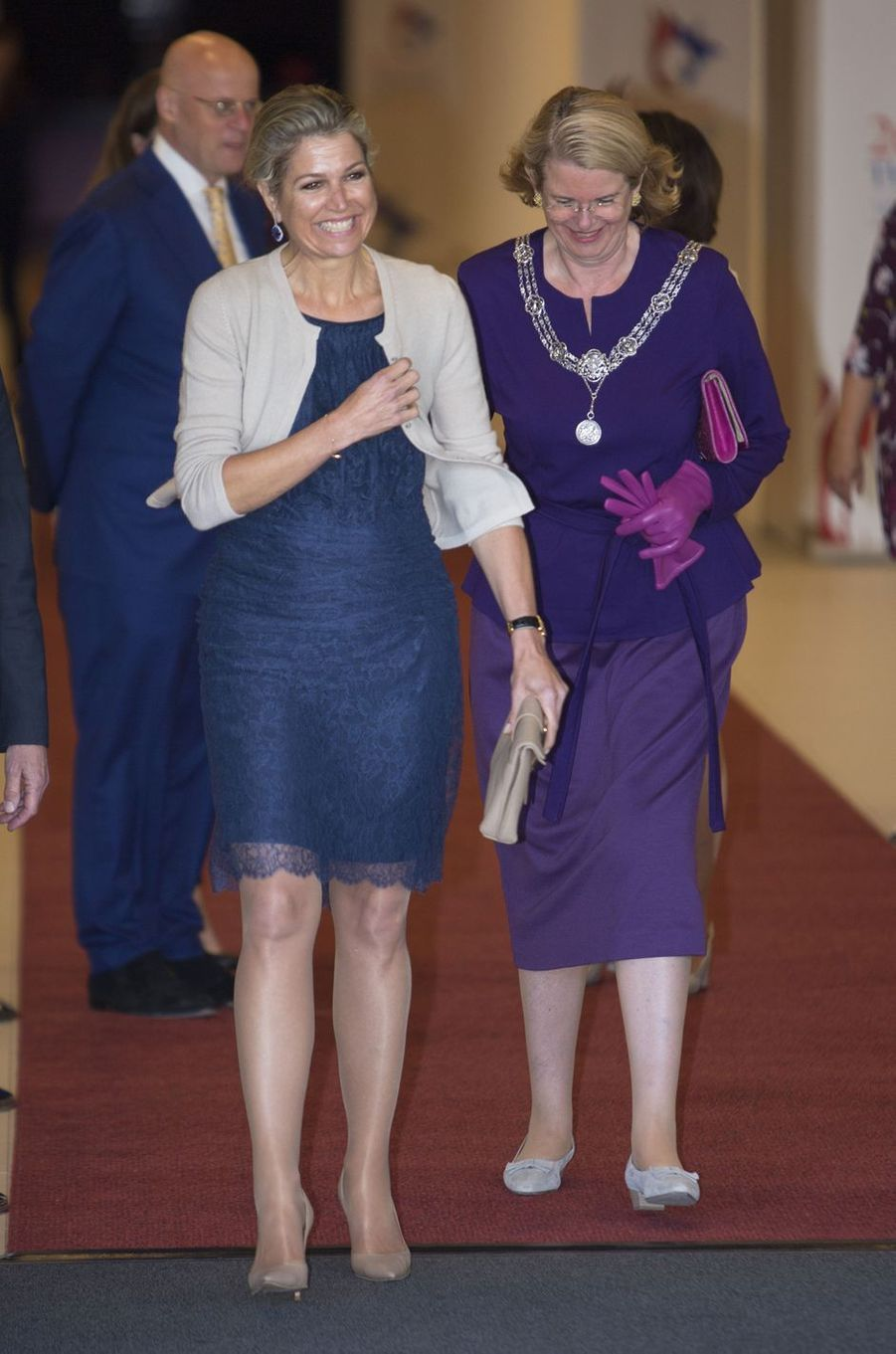 La reine Maxima des Pays-Bas, dans une robe Natan, à La Haye le 4 juillet 2019