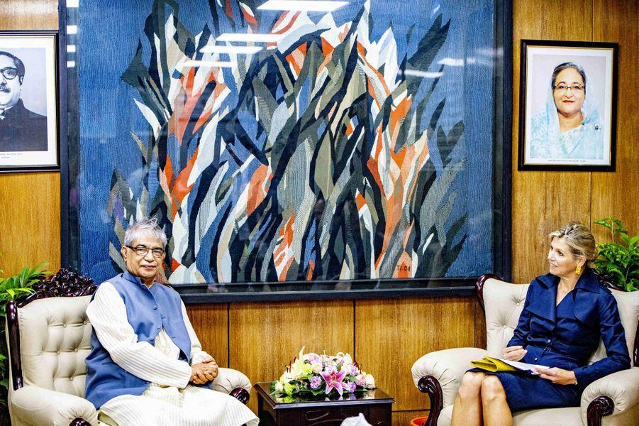 La reine Maxima des Pays-Bas avec le ministre des Postes et Télécommunications du Bangladesh, à Dhaka le 11 juillet 2019