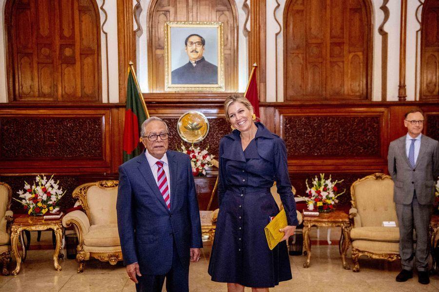 La reine Maxima des Pays-Bas avec le président du Bangladesh à Dhaka, le 11 juillet 2019