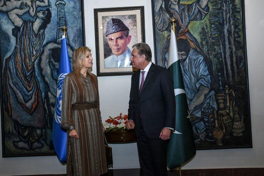La reine Maxima des Pays-Bas avec ministre des Affaires étrangères pakistanais Shah Mehmood Qureshi à Islamabad, le 25 novembre 2019