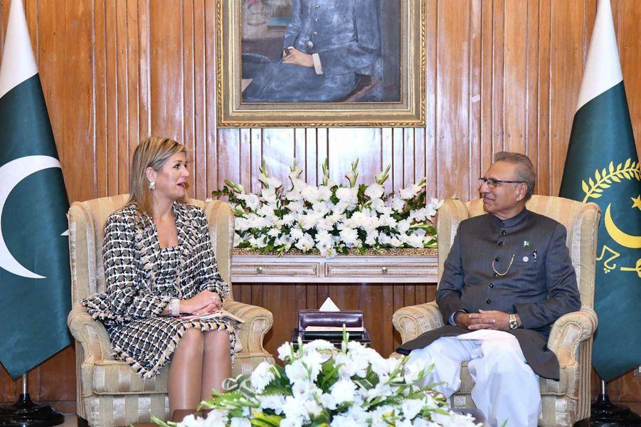 La reine Maxima des Pays-Bas avec le président pakistanais Arif Alvi à Islamabad, le 26 novembre 2019