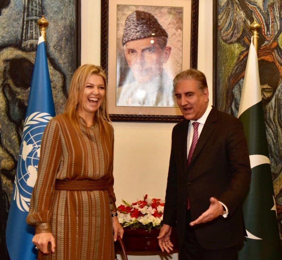 La reine Maxima des Pays-Bas avec ministre des Affaires étrangères Shah Mehmood Qureshi à Islamabad, le 25 novembre 2019