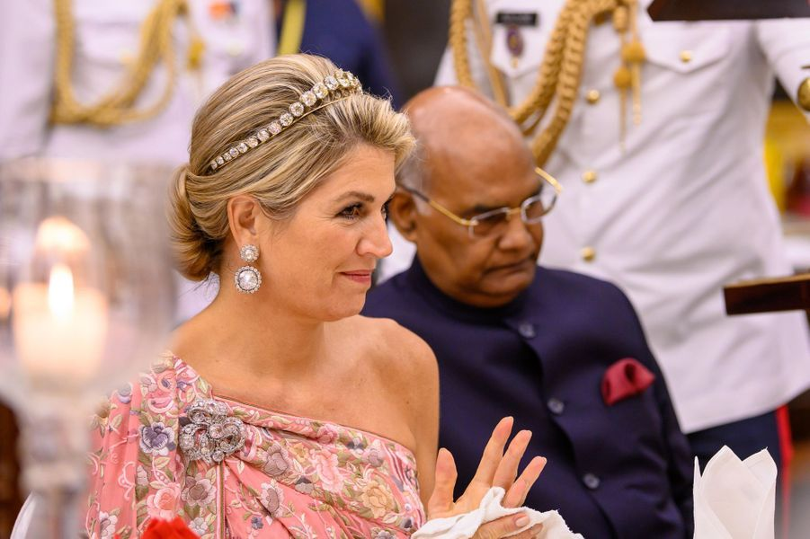 La reine Maxima et le président indien Ram Nath Kovind à New Delhi, le 14 octobre 2019