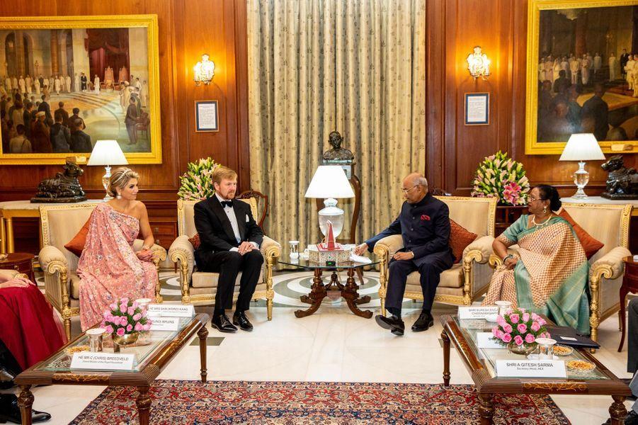 La reine Maxima et le roi Willem-Alexander des Pays-Bas avec le couple présidentiel indien à New Delhi, le 14 octobre 2019