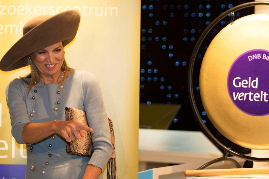 La reine Maxima à la Banque des Pays-Bas à Amsterdam, le 22 septembre 2015