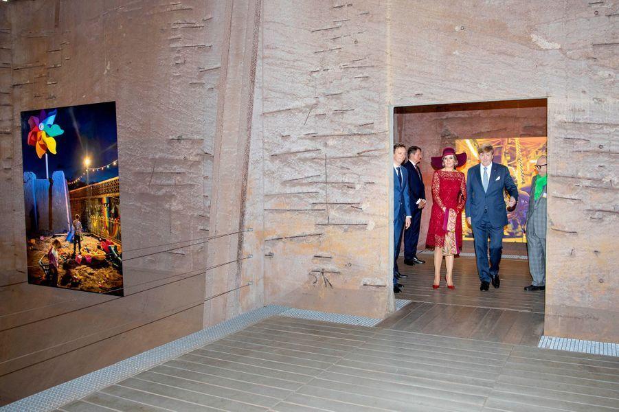 La reine Maxima et le roi Willem-Alexander des Pays-Bas sur le site de Völklinger Hütte, le 12 octobre 2018