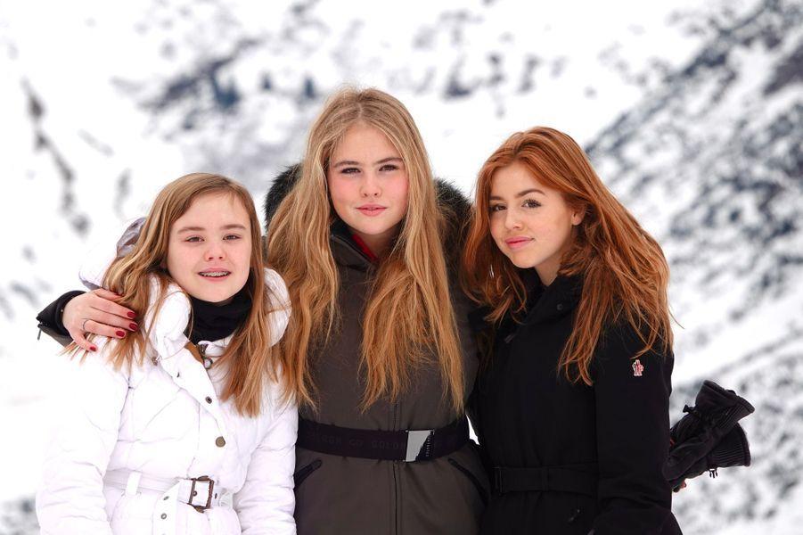 Les princesses Ariane, Catharina-Amalia et Alexia des Pays-Bas à Lech, le 25 février 2020
