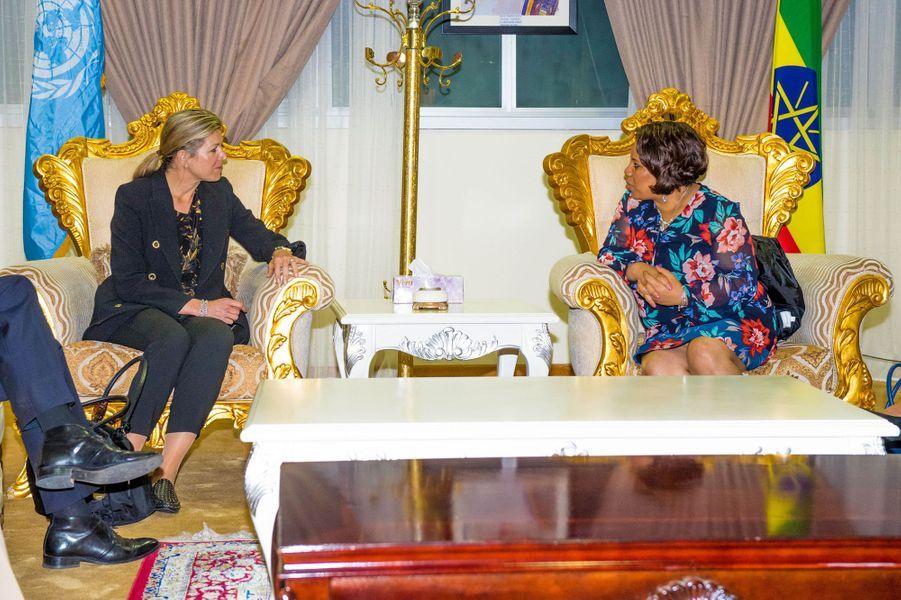 La reine Maxima des Pays-Bas à l'aéroport d'Addis-Abeba en Ethiopie, le 13 mai 2019