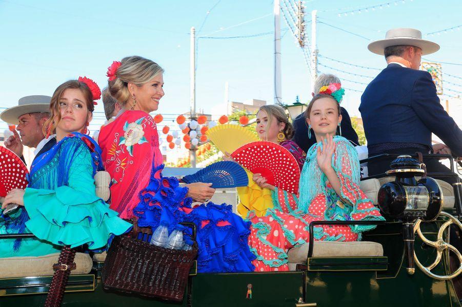 La reine Maxima et le roi Willem-Alexander des Pays-Bas avec leurs filles à Séville en Espagne, le 10 mai 2019