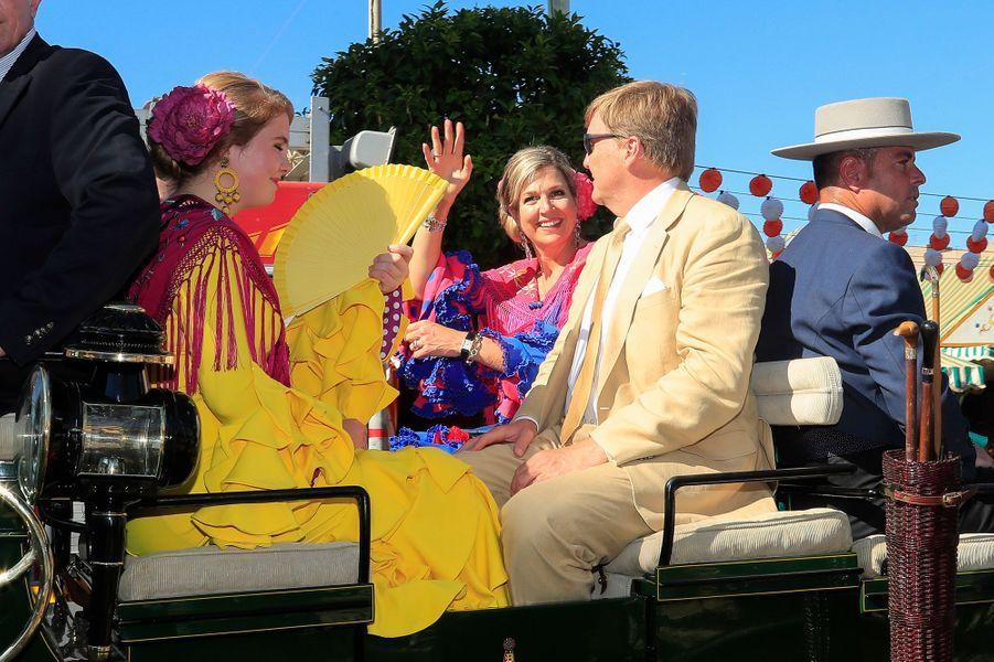 La princesse Catharina-Amalia, la reine Maxima et le roi Willem-Alexander des Pays-Bas à Séville, le 10 mai 2019