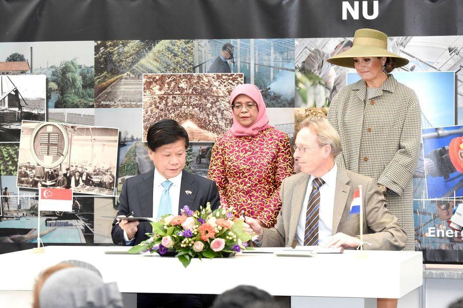 La reine Maxima des Pays-Bas et la présidente de Singapour à Bleiswijk, le 22 novembre 2018
